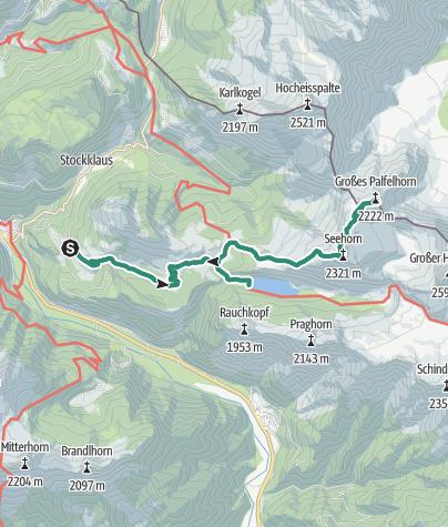 Karte / Seehorn 2321m, Gr. Palfenhorn, Steinernes Meer mit Rad
