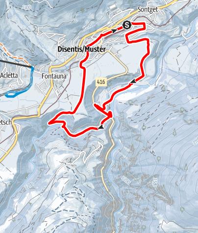 Map /  Disentis - Fontanivas Rundtour