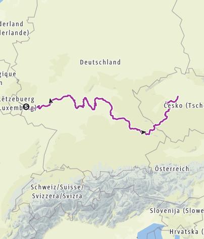 Karte / Europa verbinden. Trier-Prag, eine historische Radwanderung