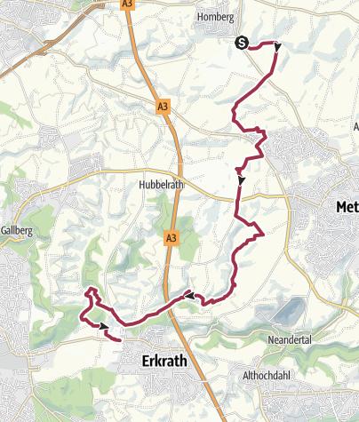 Karte / 10 ! Achtung: Wegesperrung/ Umleitung! Ratingen-Homberg nach Erkrath (neanderland STEIG Etappe 10)