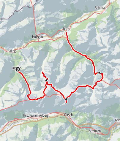 Karte / Kaisers-Kaiserjochhaus-Simmshütte-Ansbacher Hütte-Memminger Hütte-Madau-Bach