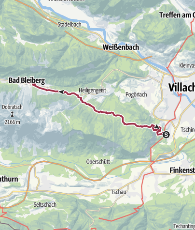 Map / Stage 1 Dobratsch hiking trail -  from Villach-Warmbad to Bad Bleiberg