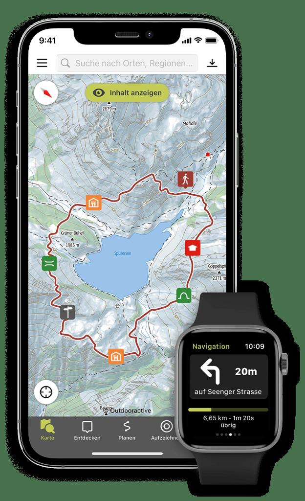 Die Outdooractive App auf Smartphone und Smartwatch
