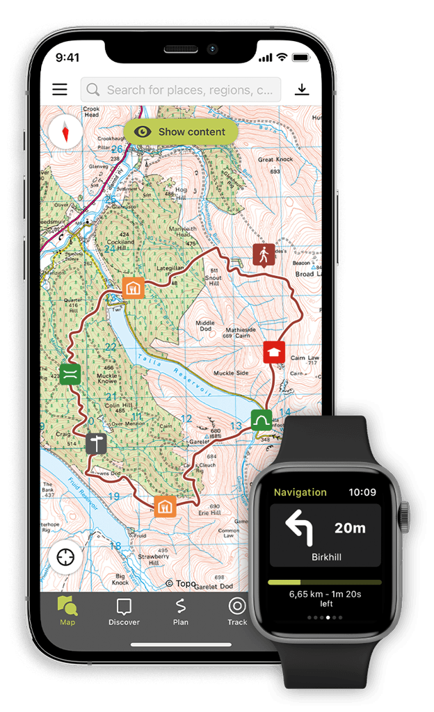 The Outdooractive app on Smartphone and SmartWatch