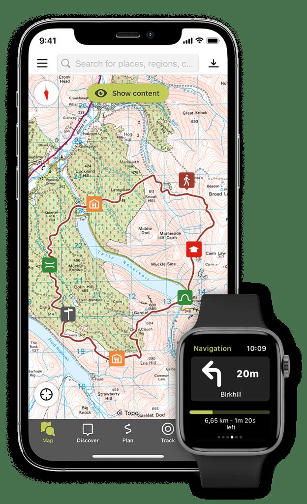 Aplicația Outdooractive pentru smartphone și smartwatch