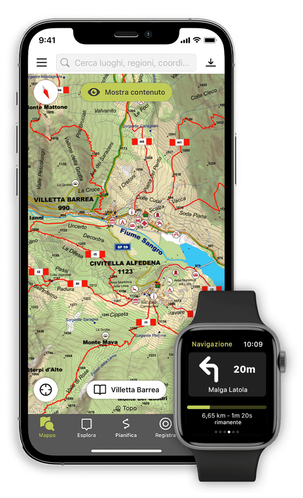 L'App Outdooractive su smartphone e smartwatch